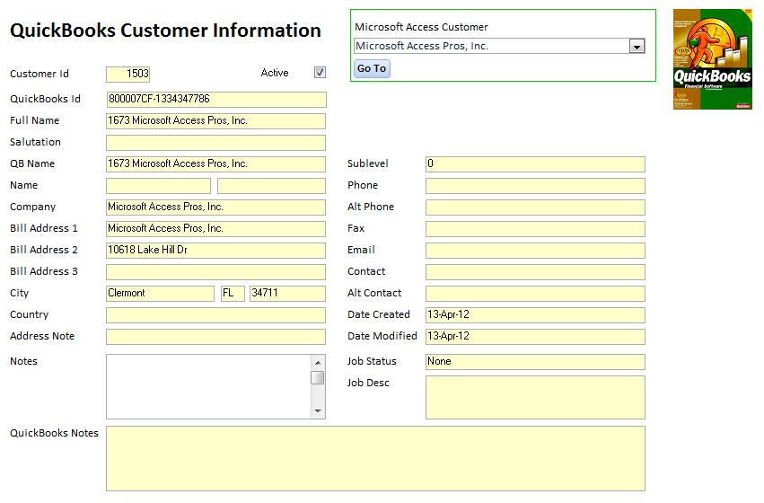 QuickBooks Customer Form